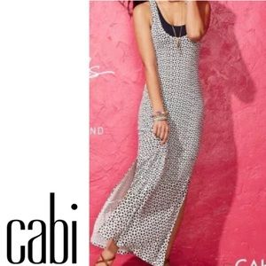 CAbi xs twist racer back blue & white maxi dress